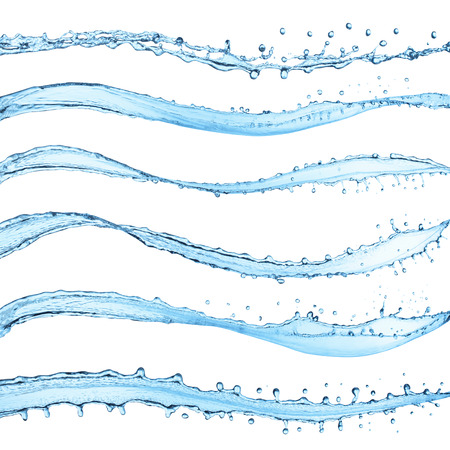 Set of water splashes, isolated on the white background