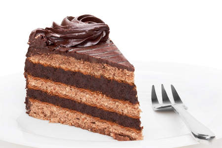 chocolate slice: Piece of chocolate cake on white plate,  isolated on the white background.