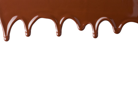 chocolate background: Flowing hot chocolate, isolated on the white background, clipping path included.