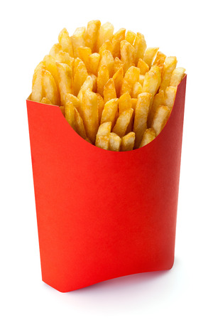 French fries in a red carton box isolated on the white background clipping path included.