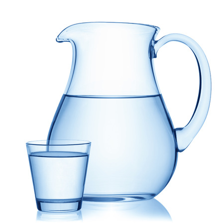 white water: Pitcher and a glass of water, isolated on the white background, clipping path included.
