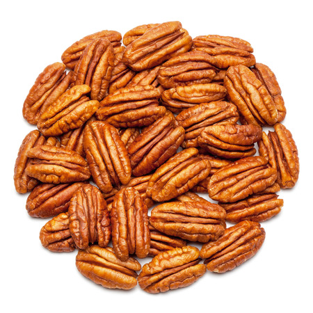 pecans: Closeup of pecan nuts, isolated on the white background, clipping path included. Stock Photo