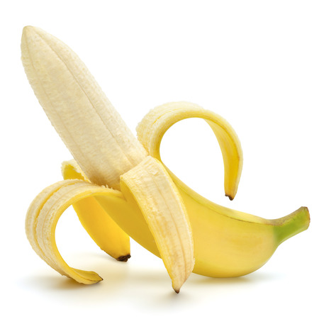 Opened ripe banana isolated on the white background, clipping path included.Erotic fruit.