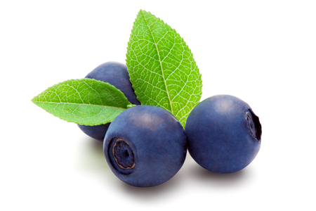 Blueberries with green leaves, isolated on the white background, clipping path included.