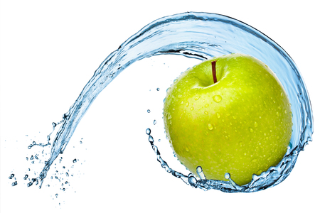 Green apple in water splash isolated on the white background. Archivio Fotografico