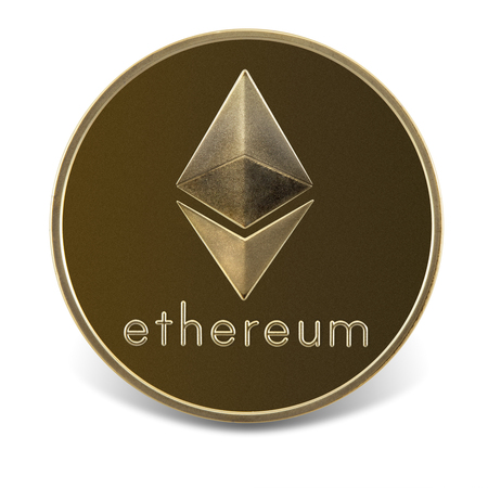 Coin with ethereum symbol, isolated on the white background, clipping path included. Archivio Fotografico