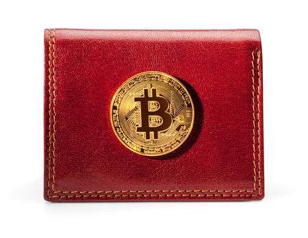 Leather wallet with golden bitcoin coin, isolated on the white background, clipping path included. Archivio Fotografico