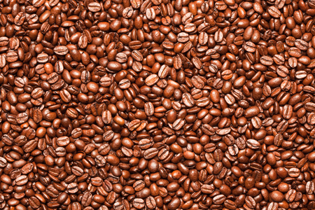 Close up of roasted coffee beans. Archivio Fotografico