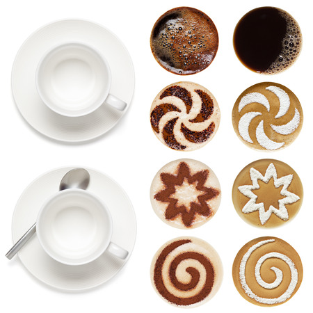 Top view of hot coffee set (espresso,cappuccino, latte),  isolated on the white background. Archivio Fotografico