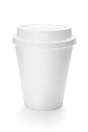White paper coffee cup with plastic top, isolated on the white background, clipping path included.