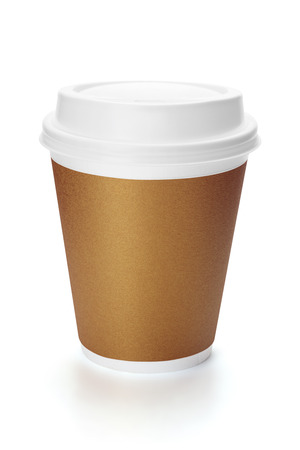 Disposable paper cup with lid, isolated on white background, clipping path included.