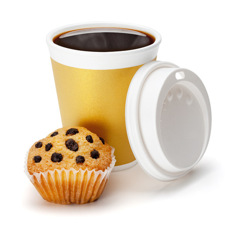 Disposable paper coffee cup with  hot coffee and muffin,  isolated on the white background, clipping path included.