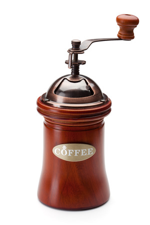 Coffee grinder isolated on the white background, clipping path included. Archivio Fotografico
