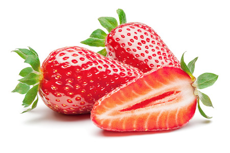 Strawberries isolated on the white background, clipping path included.