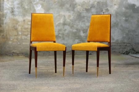 Art Deco Stoel : Vintage luxury art deco chair with yellow fabric stock photo