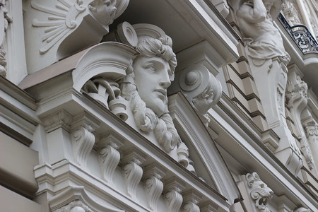 Fragment of Art Nouveau style (Jugenstil). The architect is M. Eisenstein, Riga, Latvia.