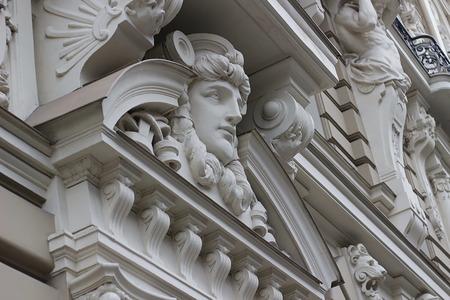 Fragment of Art Nouveau style (Jugenstil). The architect is M. Eisenstein, Riga, Latvia.