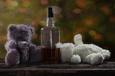 bourbon: Two Teddy Bears drunk bourbon whiskey at Christmas
