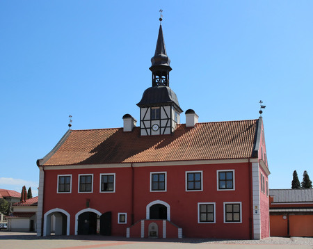 Old town hall at central square of Bauska in Latvia