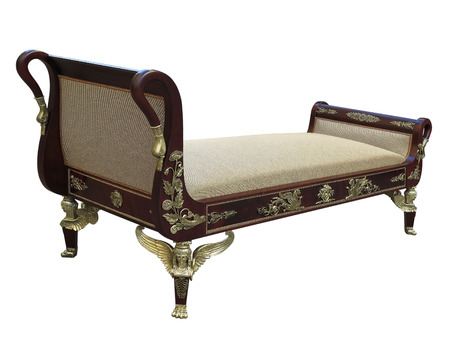 19th French Ormolu Mounted Empire Style Day Bed, Sofa Stock Photo   68447741