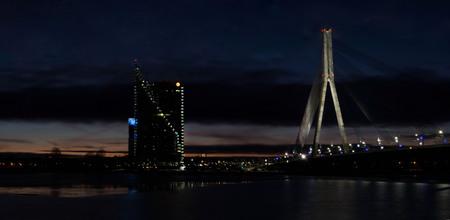 latvia: Cable-stayed bridge across Daugava river in Riga.