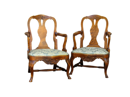Antique chippendale style chair isolated with green fabric and woor carving Stock Photo