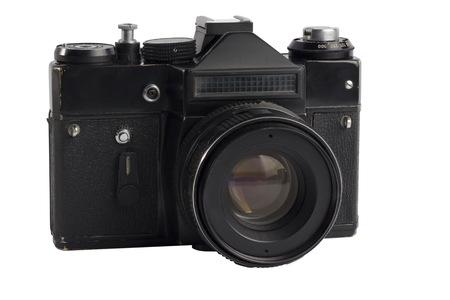 Old SLR vintage camera on white