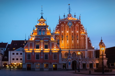 House of the Blackheads. Latvian: Melngalvju nams, German: Schwarzhaupterhaus, is a building situated in the old town of Riga, Latvia. Stock Photo