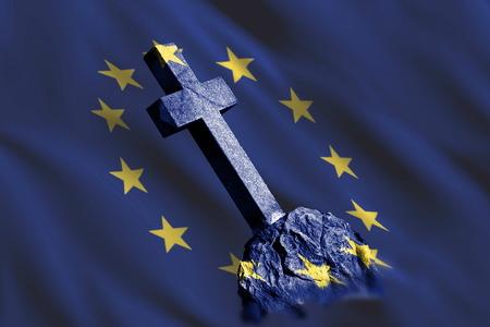 Gravestone with flag of European union