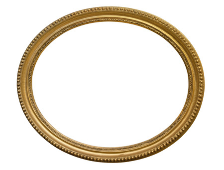 Gold oval picture frame. Isolated over white Фото со стока