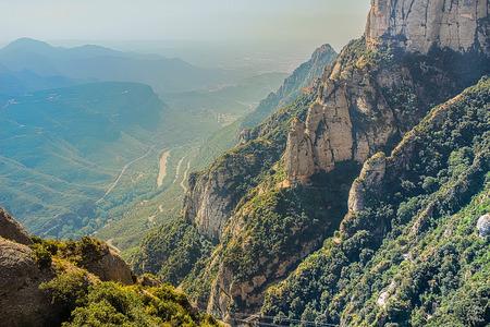 Montserrat green rocks near the Montserrat abbey, Catalonia