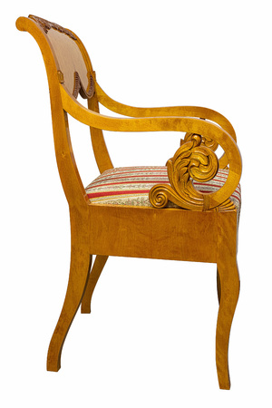 Antique Biedermeier style chair with authentic fabric and wood carving
