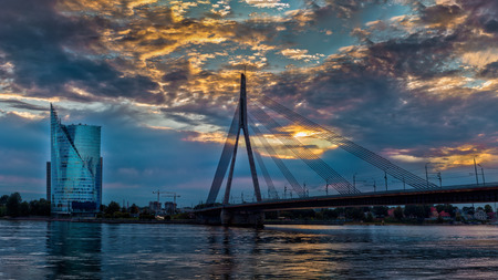 metal structure: Cable-stayed bridge across Daugava river in Riga, Latvia.