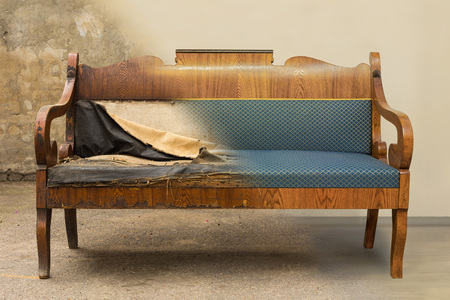 Antique Biedermeier style sofa with authentic fabric and wood carving before and after restoration , in a single photo