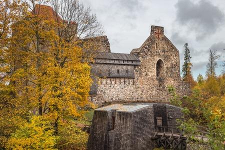 Ruins of medieval castle in Sigulda, Latvia