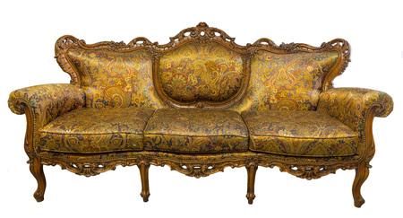 Vintage luxury Golden sofa Armchair isolated on white