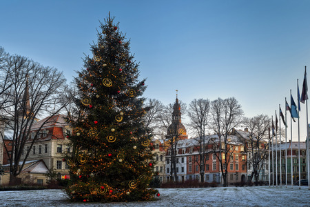 Riga, Latvia. Xmas Christmas Tree At Evening In Night Illuminations Lights. Famous Place At Winter New Year Holiday Evening.