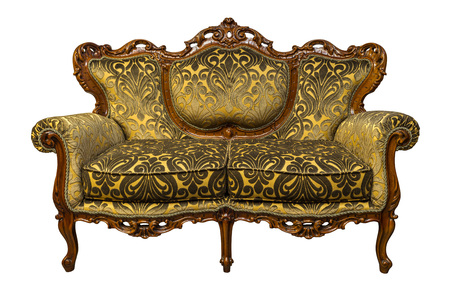 Vintage luxury Golden sofa Armchair isolated on white background
