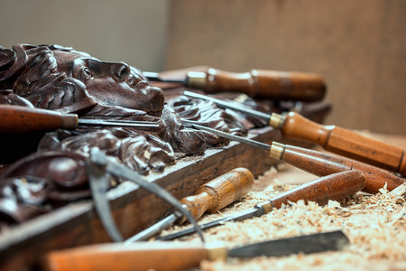 Wood processing. Joinery work. wood carving. chisels for carving close up. Stock Photo