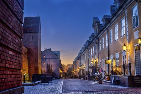 Riga, Latvia, 2017 cecember: Decorated Christmas street of Old Town at night