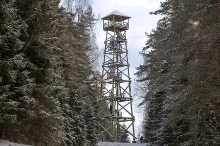 Wooden watch tower for tourists to observe the surrounding landscape in forest