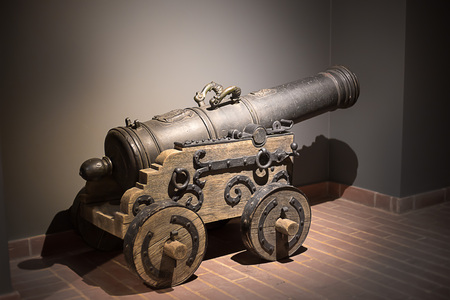 Medieval cannon Gunpowder artillery in the Middle Ages Stock Photo