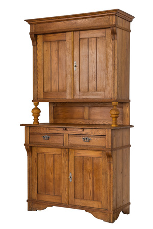 Old wooden cabinet isolated on white