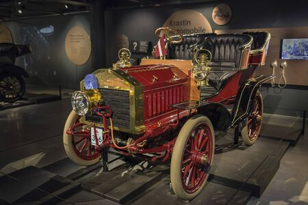 RIGA, LATVIA-February 18, 2019: : Retro car 1903 Krastin in the Riga Motor Museum Editoriali
