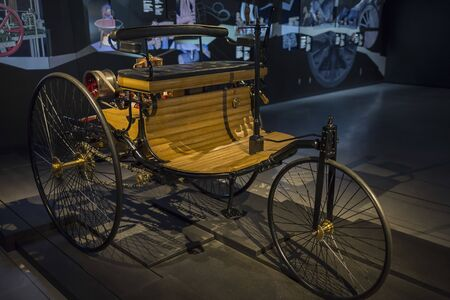 RIGA, LATVIA-February 18, 2019: 1886 Benz in the Riga Motor Museum. Editoriali