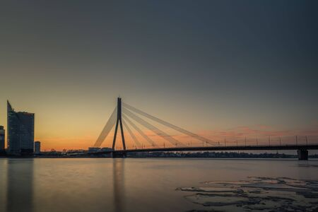 Cable-stayed bridge across Daugava river in Riga, Latvia.