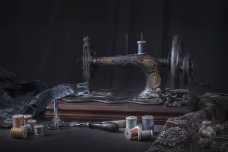 The sewing machine and accessories - threads, needle, scissors, measuring tape. Stok Fotoğraf