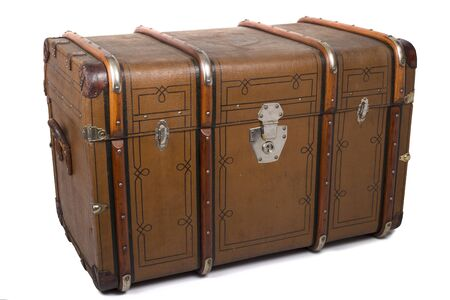 Antique Tin Travel Trunk Steamer Chest closed isolated on white background