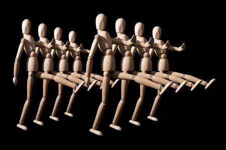 Attack of wooden dummies, wooden robots march in military ranks