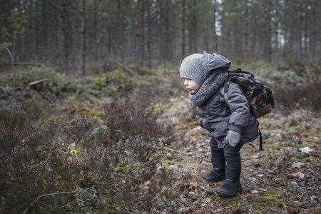 Little boy go hiking with backpack on the forest on a cold day Stock fotó